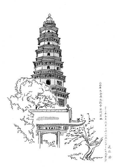 简笔画 建筑 旅游 手绘 塔 线稿 391_567 竖版 竖屏